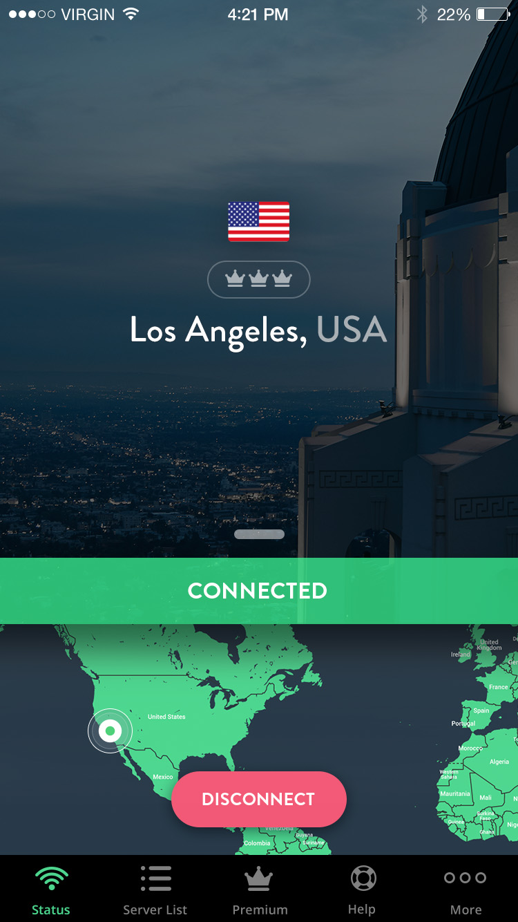 Toma de pantalla de la aplicación Shellfire VPN iPhone/iPad