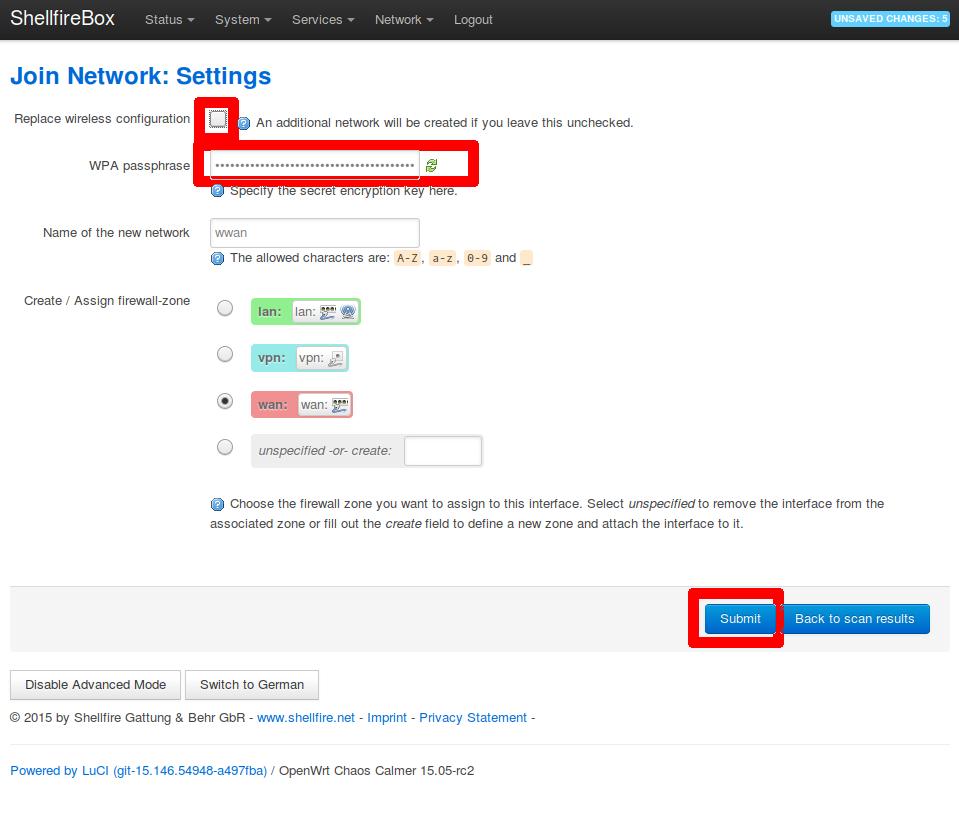 Shellfire Box join network settings